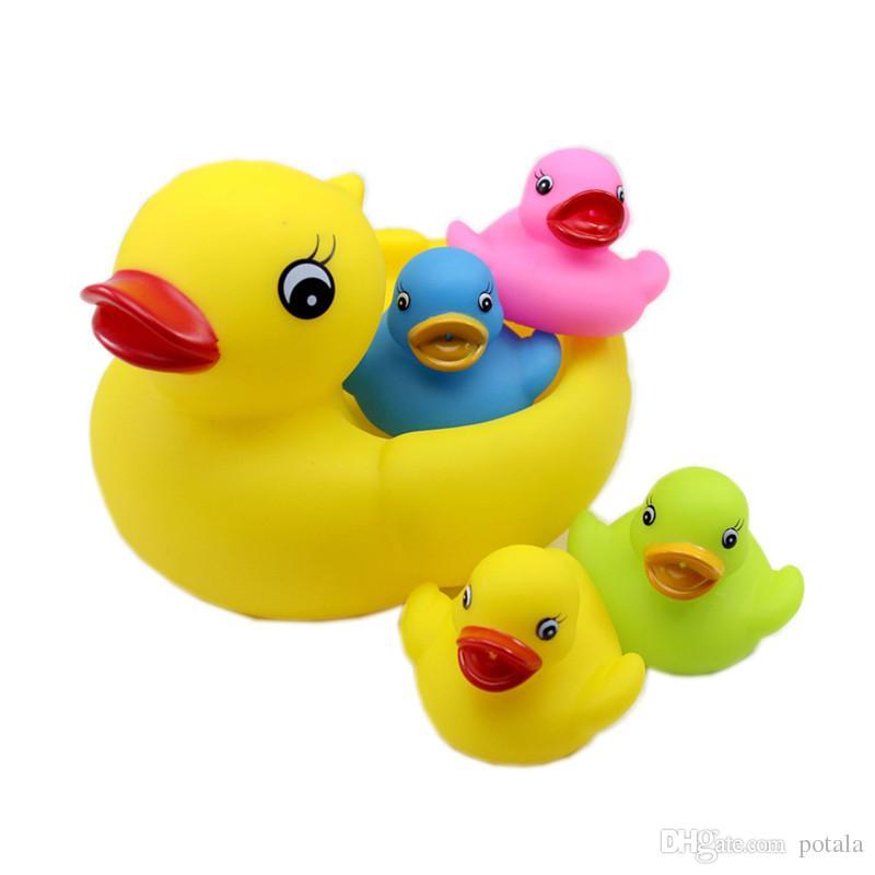 5 Sets Bath Toys 20CM&6CM Baby Fun Shower 8inch interesting Big BB Sound Star Mini Yellow Rubber Duck Blue Green Red Yellow Set of 5 1big