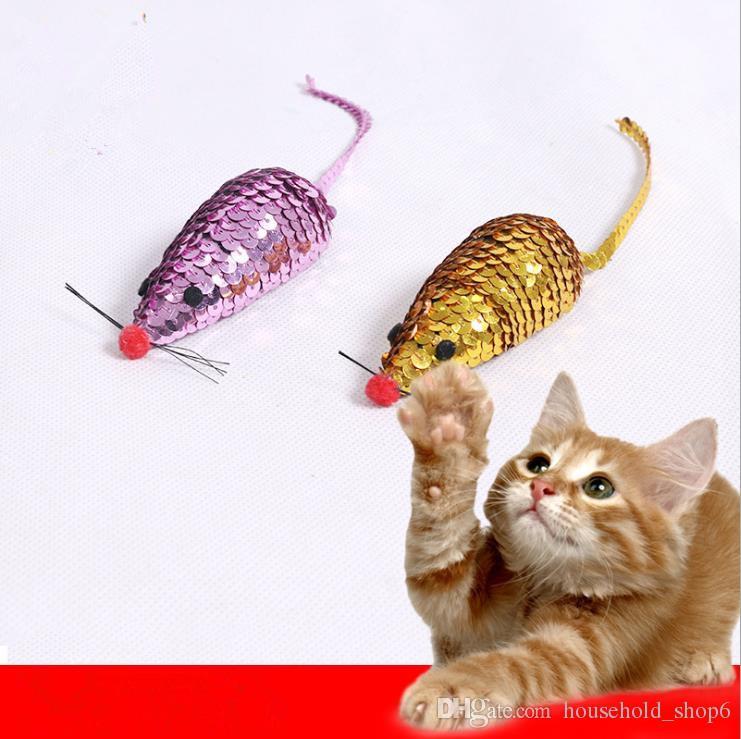 Новый Кот Пластиковая Игрушка Кошка Интерактивная Игрушка Котенок Блестки Мультфильм Мышь Игрушка Золото Красный 1 Шт.