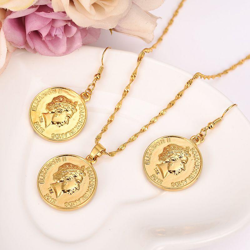 set di gioielli in oro catena donne matrimonio nigeriano Isole Solomon britanniche Dieci centesimi Coin Sea Spirit Ngoreru Elizabeth gift girl