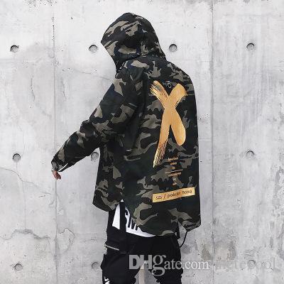 Fashion Big Letter X Mantel Camo Jacke Rot Gelb Military Hoody Windbreakers Hip Hop Jacken Outwear Männer Frauen US Größe S-XL