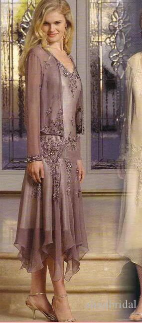 only 1 piece left Appliques Beads Mother Of The Bride Dresses in stock Illusion Long Sleeve A Line Tea Length Mother of the Groom Dress