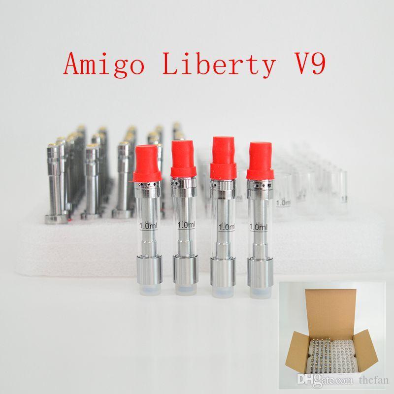 리버티 V9 원래 Amigo Vape 카트리지 0.5ml 1.0ml 세라믹 코일 vape 카트리지 빈 유리 두꺼운 기름 atomizer