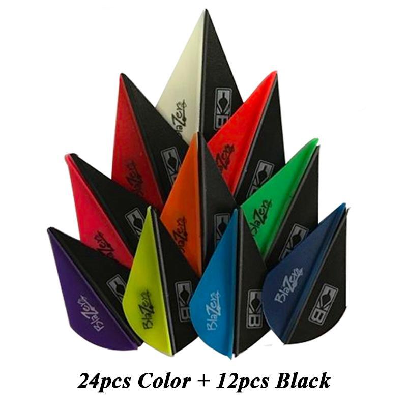 "36pcs High Elastic 2"" Vane Plastic Hunting Arrow DIY Arrow Archery Compound Bow 24pcs Color & 12pcs Black"