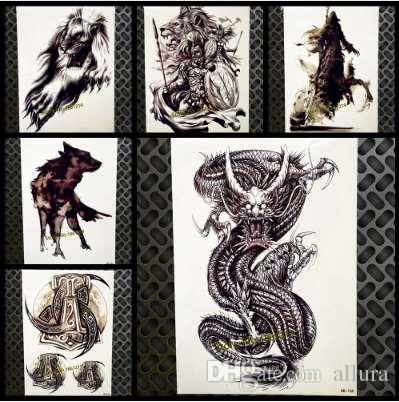 Novo Grande Desgion Dragão Preto Braço Falso Tatuagem Para Mulheres Dos Homens Corpo Peito Arte Tatoo 21x15 cm Adesivos Tatuagem Temporária À Prova D 'Água