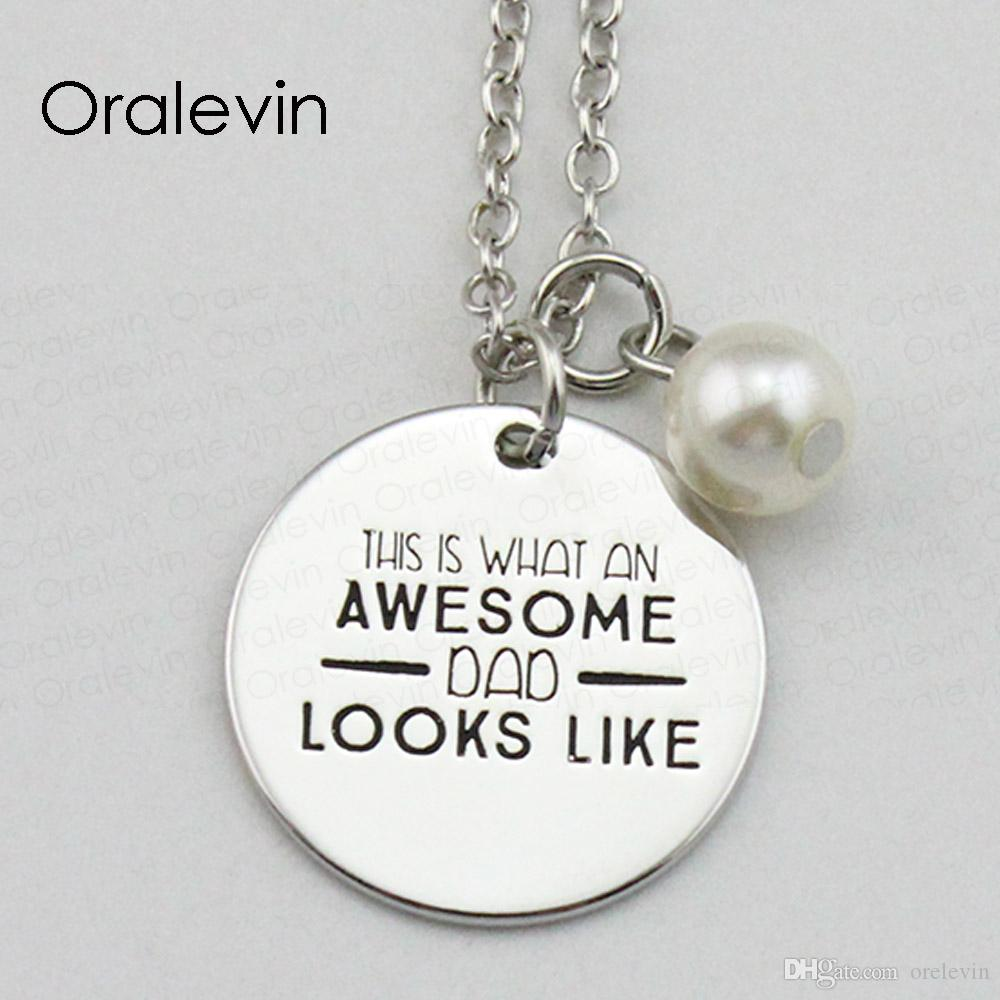 THIS IS WHAT AN AWESOME DAD LOOKS LIKE Inspirational Hand Stamped Engraved Pendant Female Necklace Jewelry,18Inch,22MM,10Pcs/Lot, #LN2058