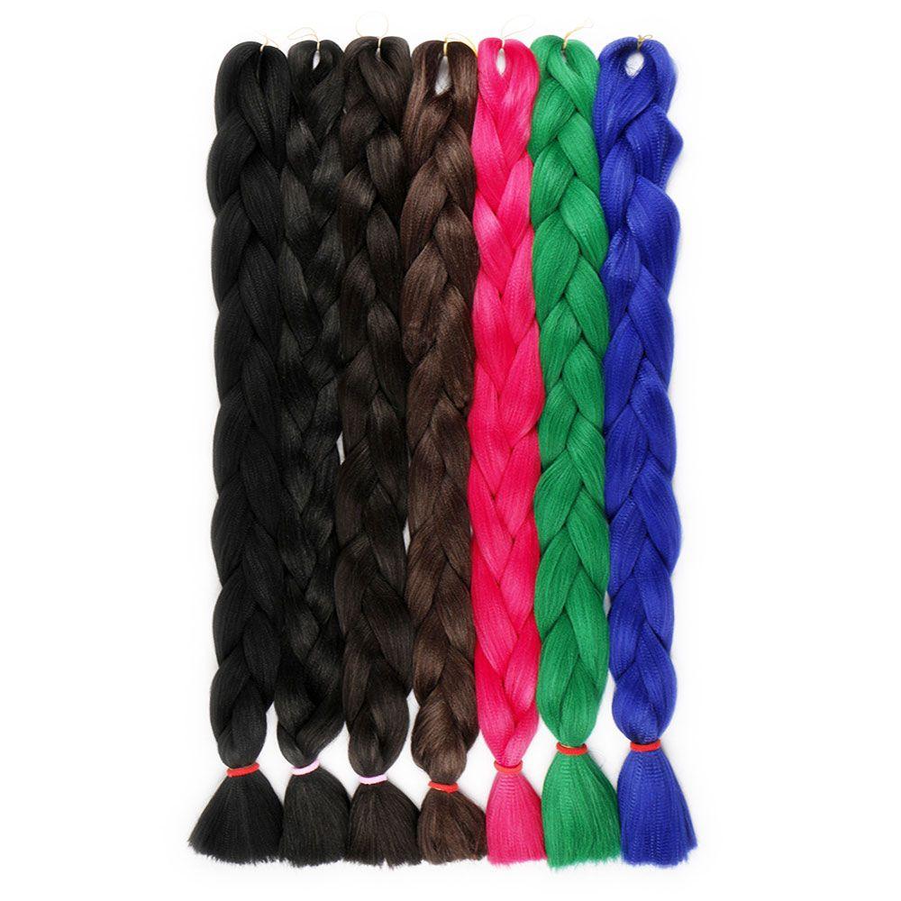 Extensions de cheveux de tressage en vrac au crochet de couleur solide Xpression 82 pouces 165g / pack Extensions de cheveux tressés synthétiques Kanekalon