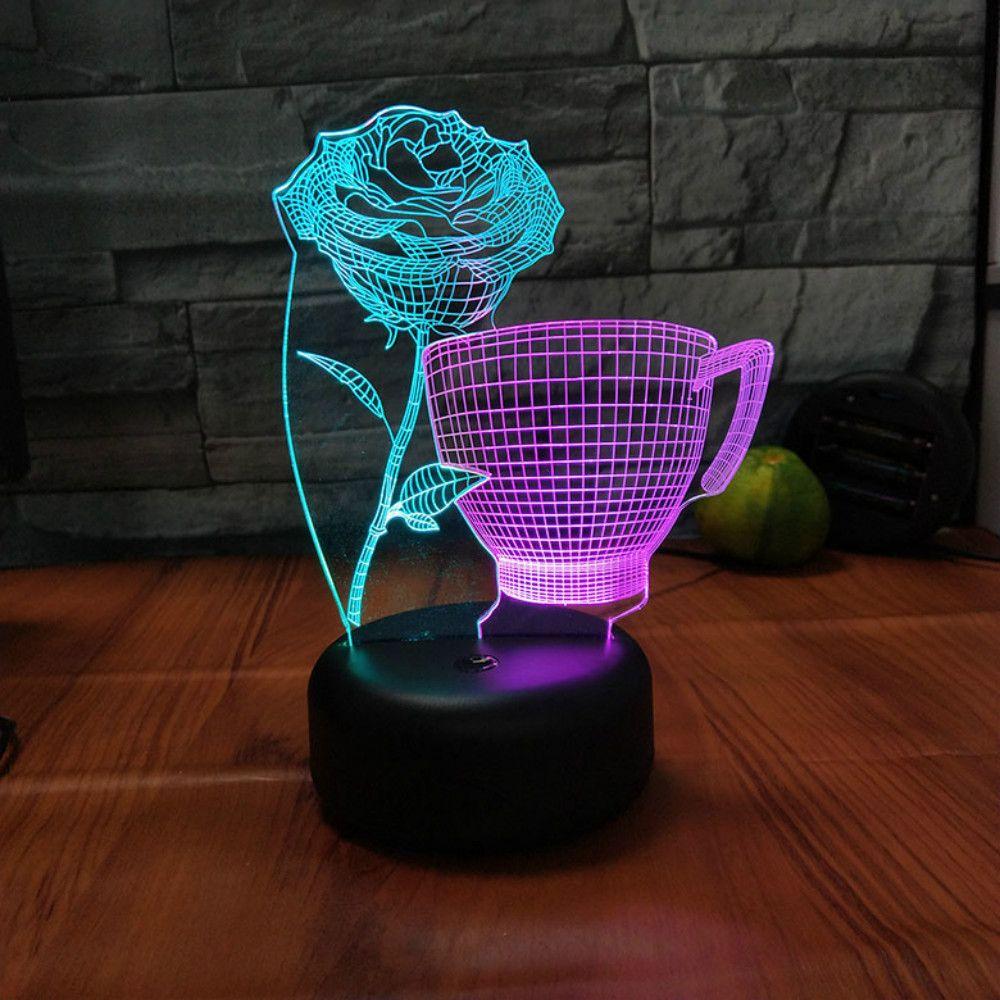 더블 컬러 장미 컵 3D 나이트 라이트 LED 7 색 로맨틱 USB 테이블 램프 아크릴 장식 조명 도매 Dropshipping를 변경