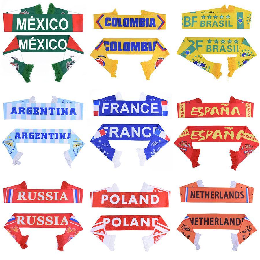 Coppa Home Decor Russia Mondiale 2018 Football Fans Sciarpa Fan di calcio Sciarpa Nazionale Sciarpa 32 paesi Messico Colombia F Flag Banner