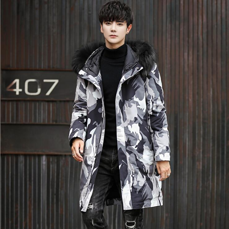 2018 New Winter Jacket Men Coat Duck Down Jacket with Fur Hood Parka men's long coat masculine camouflage