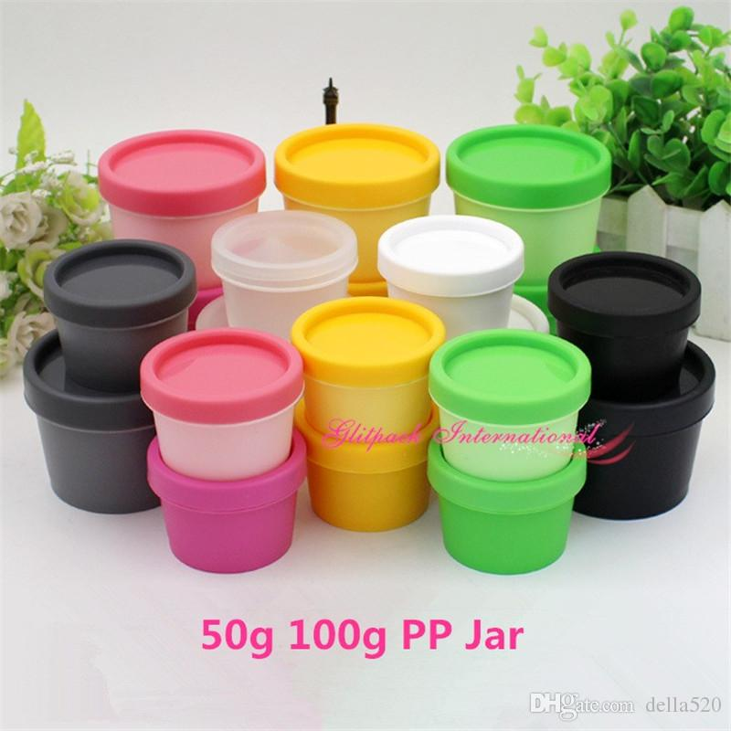 Mulit Colors 50g 100g Mask Cream Pot recycled cosmetic packaging PP Containers plastic cosmetic box plastic face cream jars Cosmetic pot