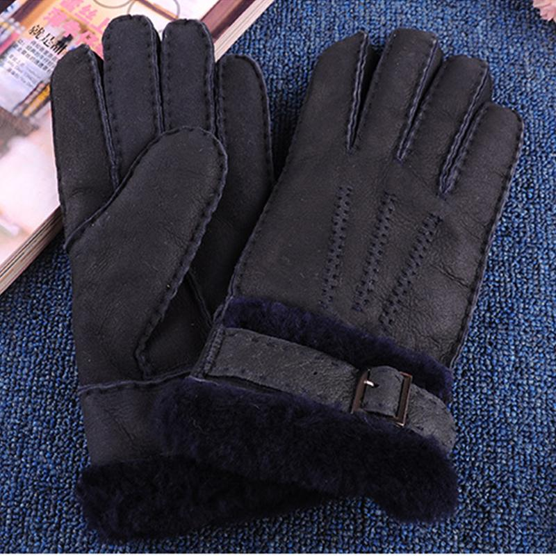 2018 New Arrival Designer Men's Gloves High Quality Real Genuine Leather sheepskin Mittens Warm Winter for Fashion Male Luvas