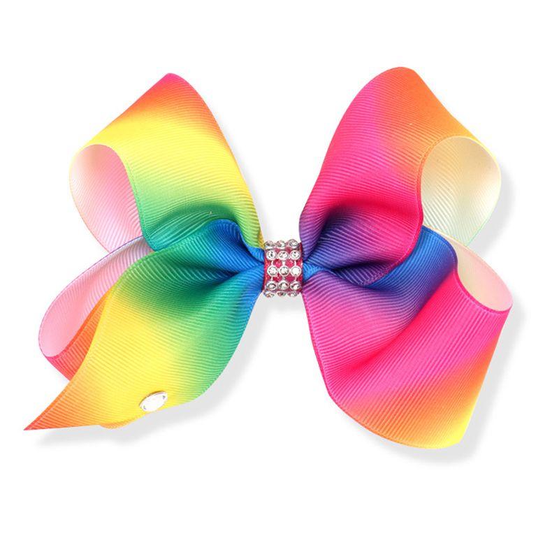 """Girls Rainbow 5"""" Large Hair Bow Clip"""