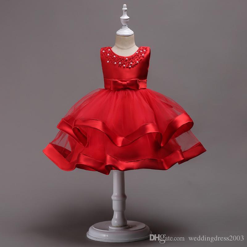 Lovely 2018 Baby Girl Dresses Beaded Jewel Neck Fluffy Skirt Tea-length Red Blue Pink Satin and Organza toddler vestidos de fiesta