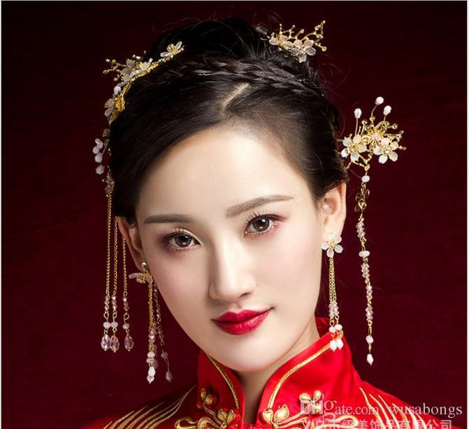 Nuevas novias, flecos antiguos, borlas largas, adornos de cabeza, vestidos de novia chinos, Feng Guan Xia y accesorios de cheongsam.