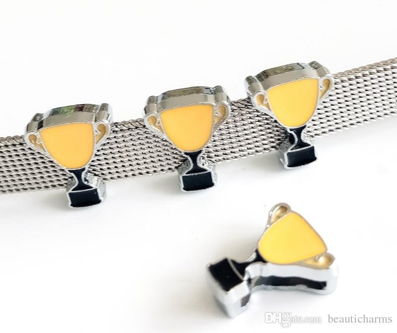 10pcs 8MM Enamel Yellow Trophy Slide Charms Beads DIY Accessories Fit 8mm Collar Belts Bracelets Strips