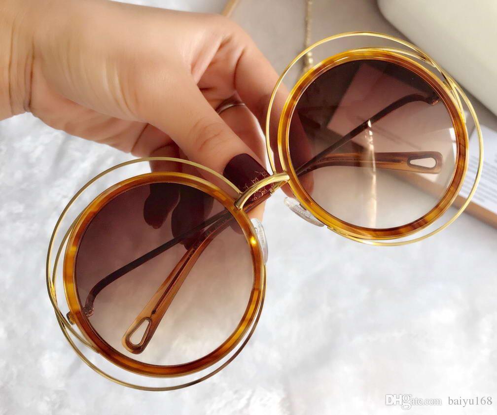 Damen CE120S Carlina Runde Sonnenbrille Havana Brown Gradient Lenes 120S Fashion Shades Sonnenbrille Neu mit Kasten