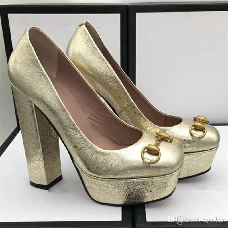 Pumps 2018 Lackleder Plattform Hochzeit Ketten Sexy Chunky Großhandel Schuhe Silber Klassische Hohe Frauen Mit Büro Heel Gold High Damen YeWHI2ED9