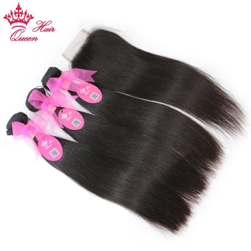 Capelli umani 100% Dritto Brasiliano 3 Bundles con chiusura Estensioni dei capelli vergini Vergini Chiusura del pizzo di colore naturale Prodotti per capelli