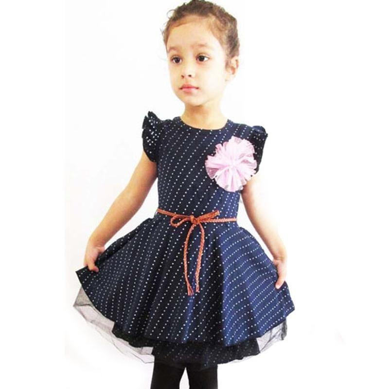 Compre Vestido De Verano Para Niña Princesa De Manga Larga Vestidos Para Niñas Punto Azul Oscuro Vestido De Fiesta De Cumpleaños Para Bebés Pequeños