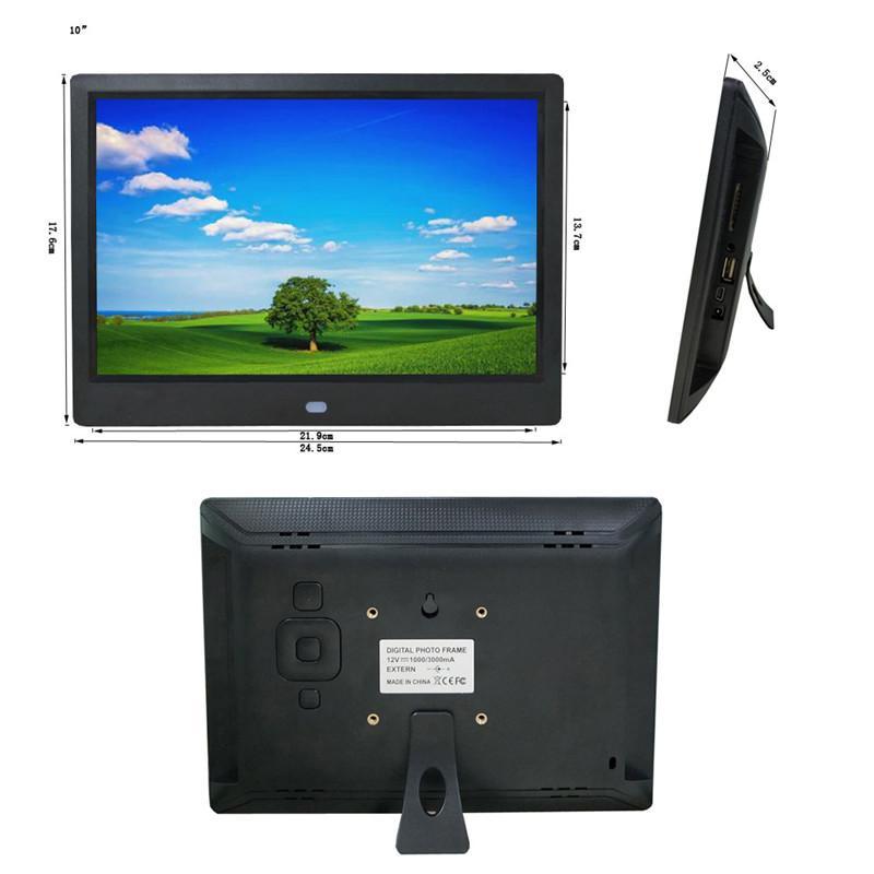 Tycipy شاشة عرض IPS كاملة الرؤية بحجم 10 بوصات إطار صور رقمي مع دعم للتحكم عن بعد متعدد اللغات Video Clock Alarm