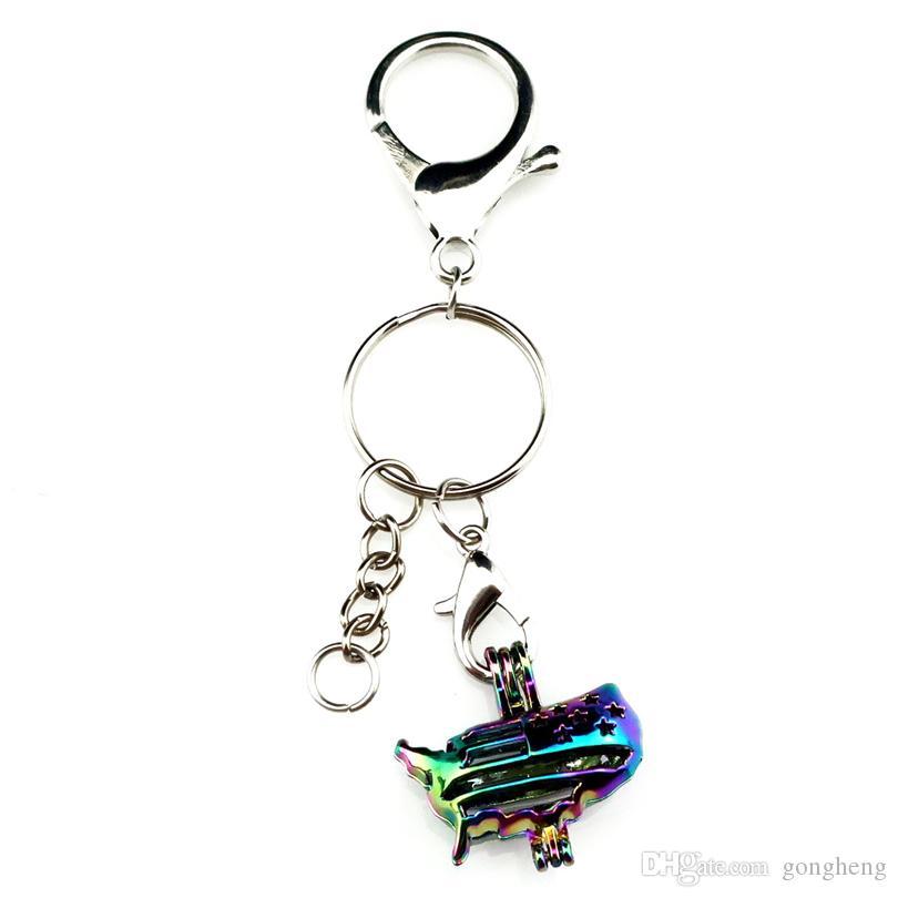 Porte-clés Porte-clés Porte-clés en plaqué argent avec couleur arc-en-ciel drapeau perle perles Cage Médaillon pendentif beauté cadeau Y449