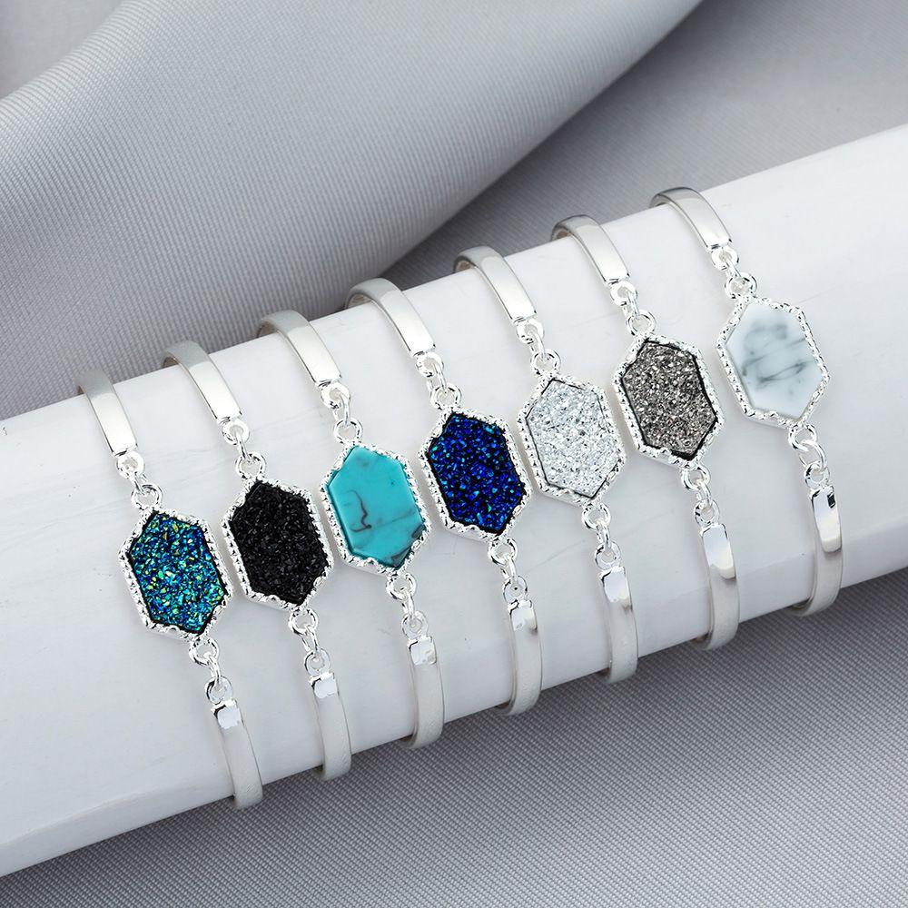 Braccialetti di fascino di pietra naturale del progettista di lusso del filo di Druzy del braccialetto per il regalo dei monili di modo delle donne