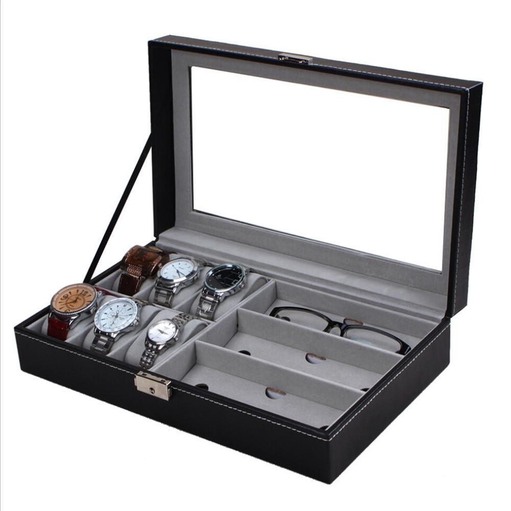 Marca nueva caja de reloj de la PU reloj de la joyería vidrios caja de exhibición de la ventana de cristal accesorios de la joyería organizador de almacenamiento caja regalos brithday