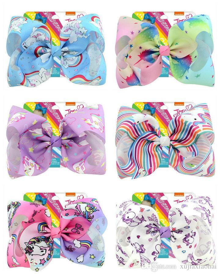 8 Inch Jojo bow unicorn hairpin 12 Designs huge bowknot headwear children party hair bow with cardboard