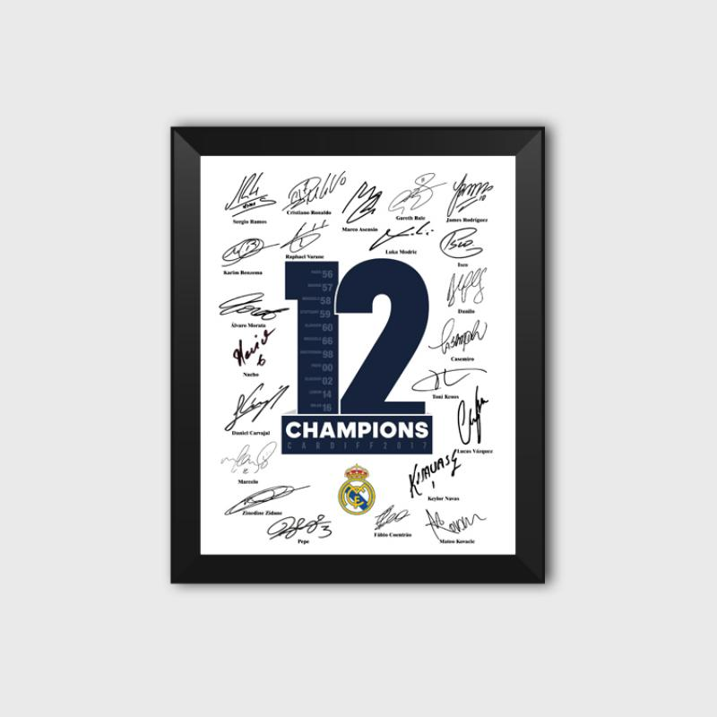 Royal Los Blancos 12th 13th European Crown Football Fans Autograph Poster Photo Picture Frame Ramos Decoration