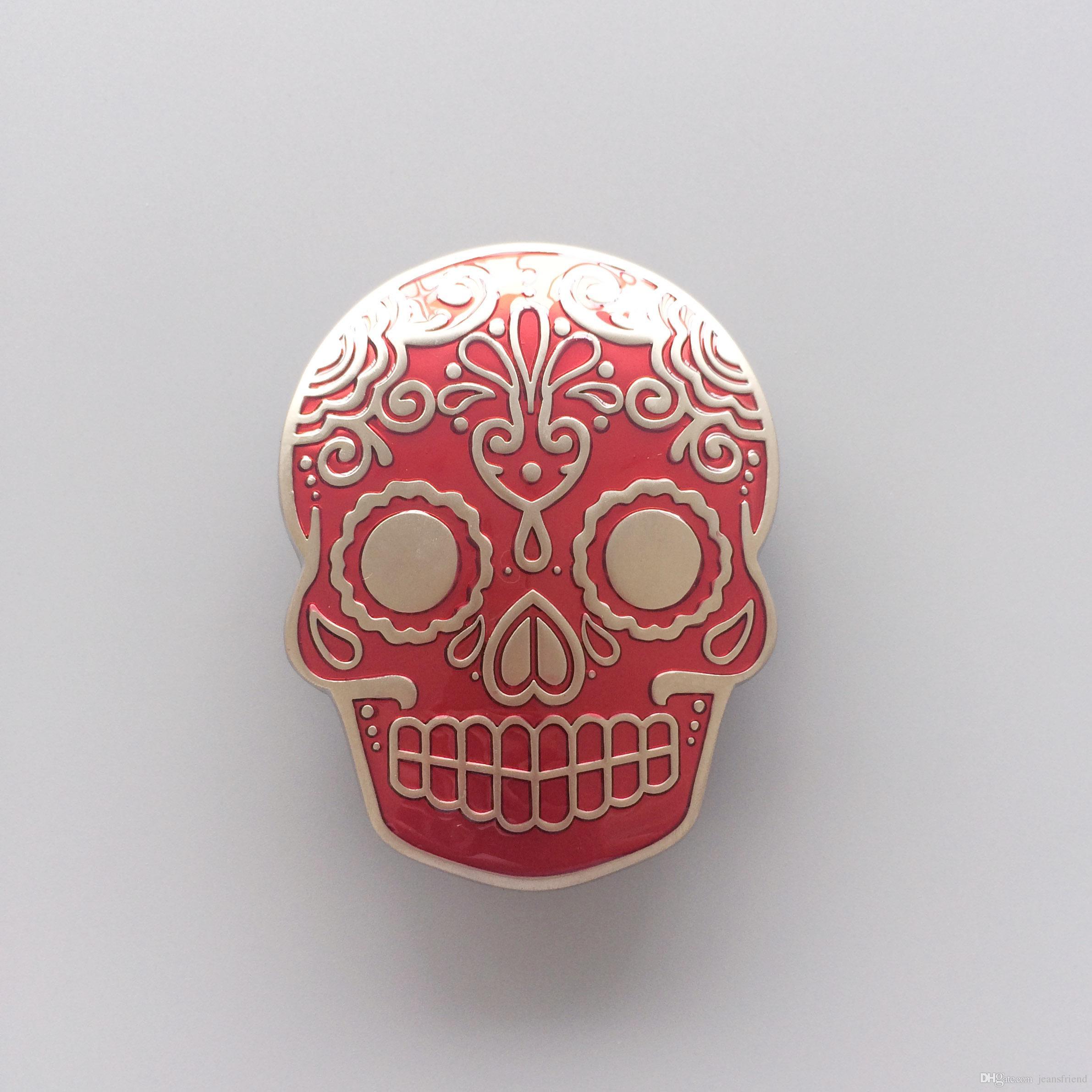 New Red Enamel Matter Silver Plated Tattoo Skull Belt Buckle Gurtelschnalle Boucle de ceinture