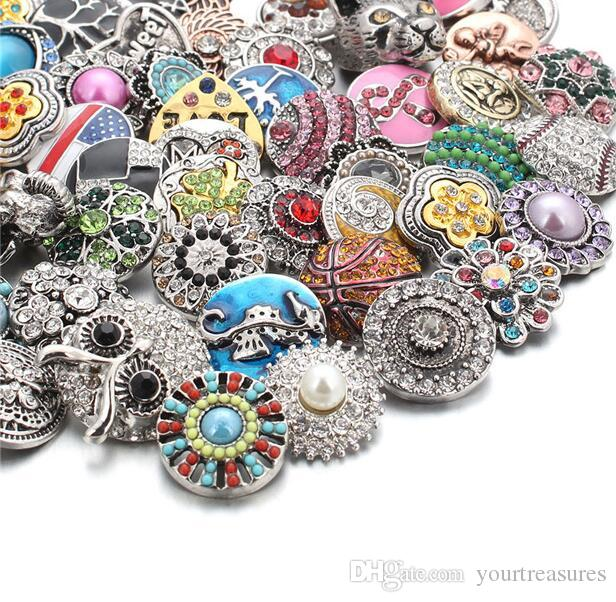 50pcslot смешанный стиль 18 мм металлические кнопки Оснастки ювелирные изделия 50 конструкций имбирь горный хрусталь Оснастки Fit 18 мм Оснастки браслет ожерелье
