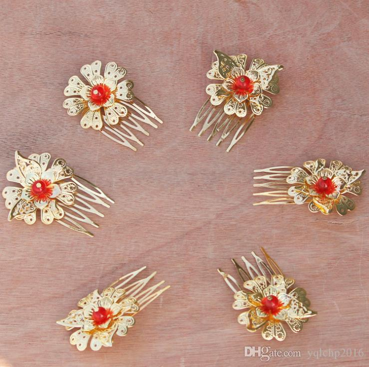 Chinese brides, golden fringes, head ornaments, hairpins, hairpins, red dragon, Phoenix gowns, ancient costumes, and summer crowned.