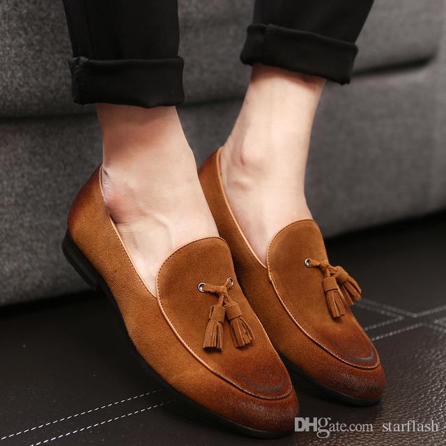 Мужская Классическая Обувь Дизайнерская Мужская Ручная Роскошь Натуральная Кожа Мужские Мокасины Кисточкой Оксфорды Свадебная Свадебная Обувь Плюс Размер: 39-46 Q-235