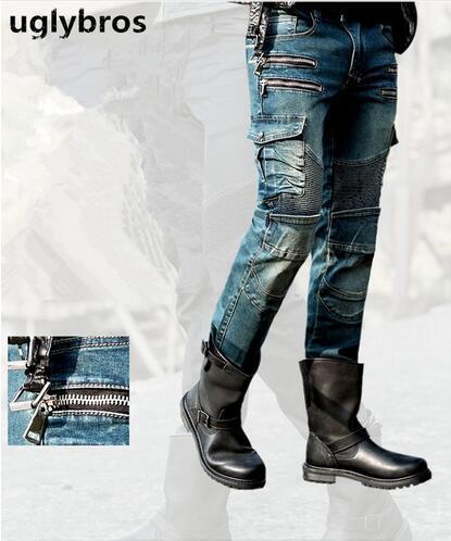 Новые моды прямой uglybros MOTORPOOL UBS11 джинсы синий мужской мотоцикл брюки защиты мотоцикла джинсы брюки