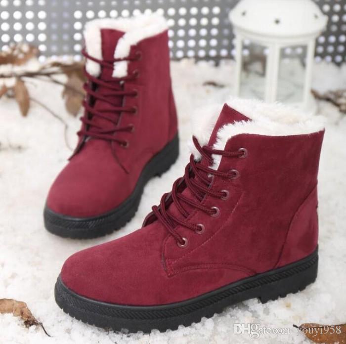 2017 nouvelle arrivée femmes bottes d'hiver chaud neige bottes mode plateforme chaussures femmes cheville bottes plus size35-44