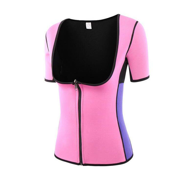 1Pc/Lot High Quality Neoprene Sauna Waist Trainer Short Sleeve Vest Workout Shapewear Slimming Sweat Belt Body Shaper Women Bodysuit