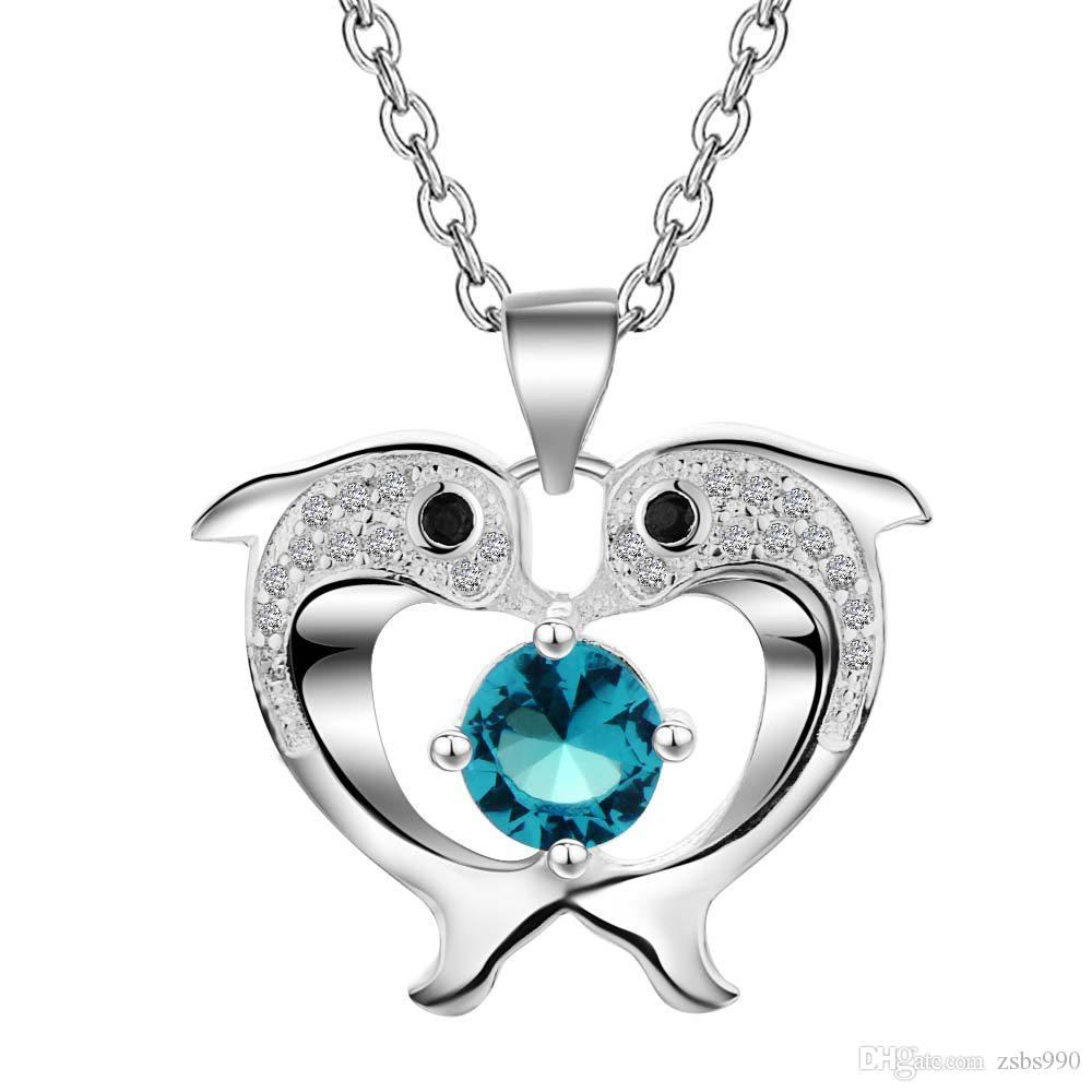Gros mignon 925 Sterling Silver Plated Dolphin Pendentif Collier avec Zircon Fashion Party Bijoux pour Femmes Cadeaux De Noël Livraison Gratuite