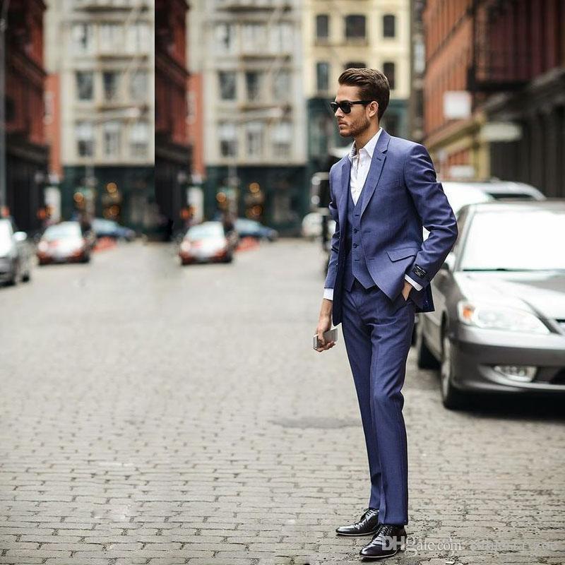 Hot Sale 3 Piece (Jacket+Pants+vest) Blue Business Mens Suits Wedding Tuxedos Groomsmen Best Man Suit Formal Suit for Men