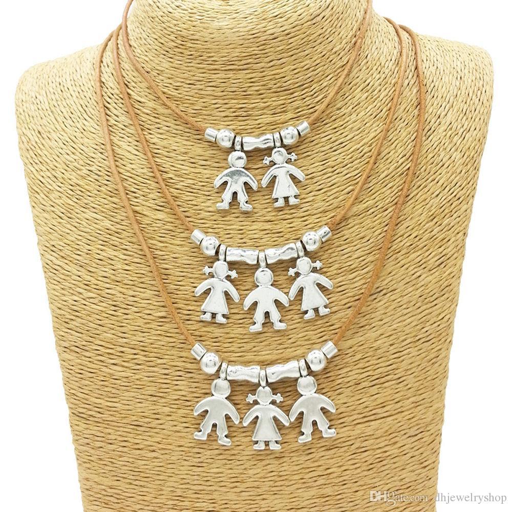 Cute Silver Детских Charms ожерелье Мальчик девушка цепь семьи Мать Подвеска ювелирные изделия