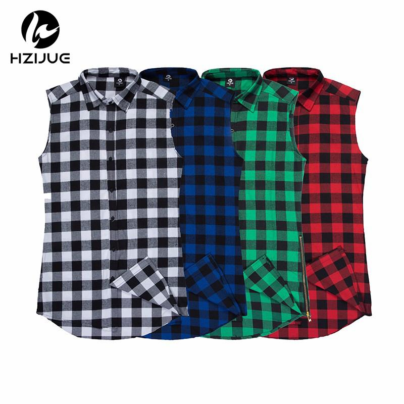 HZIJUE 2018 Spring Summer Chris Brown Plaid Sleeveless Shirt T-shirt Hip-Hop Skateboard Double Zipper lk T-shirt Tank Top