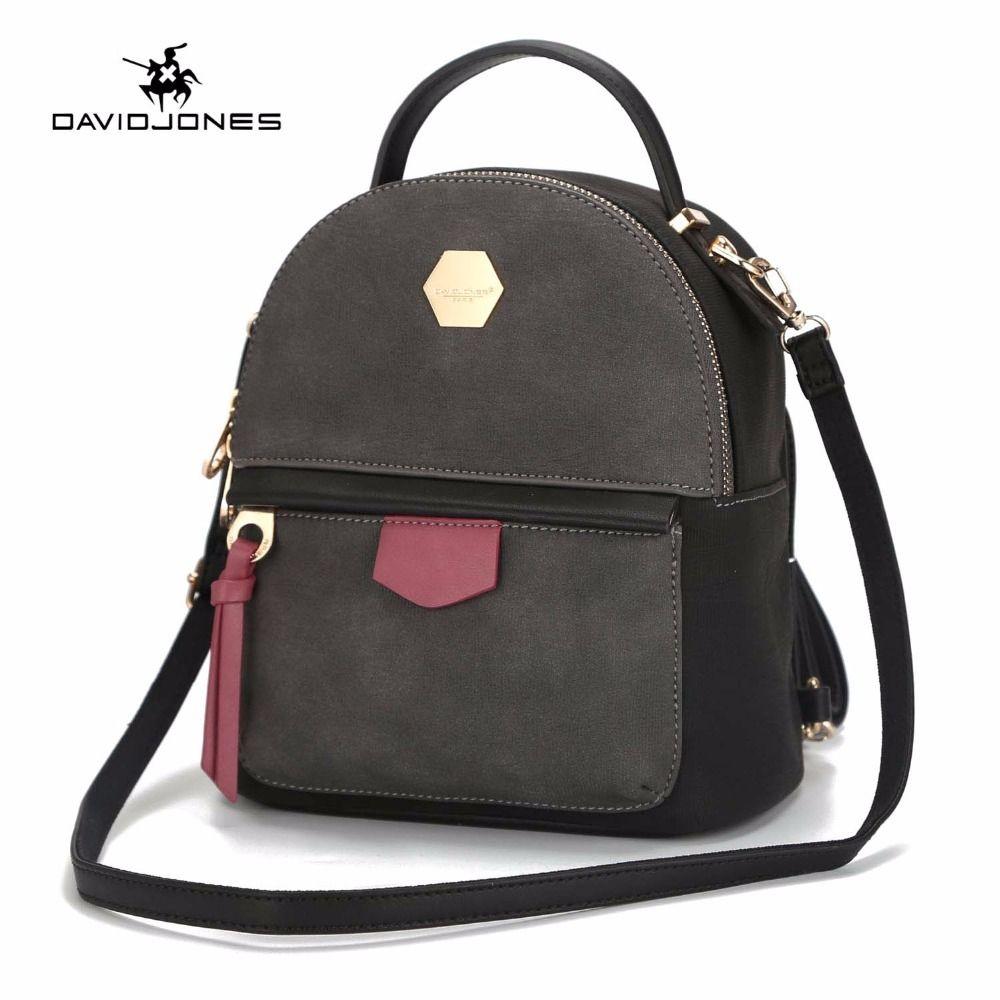 DAVIDJONES bolsos de hombro de las mujeres de imitación de cuero mochilas femeninas mini señora vintage softpack chica marca escuela bolso envío de la gota Y18110202
