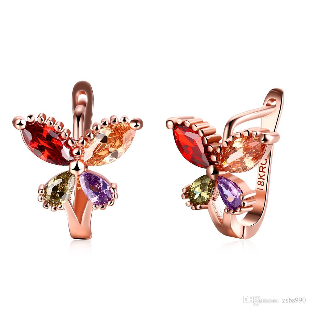 Factory Price Wholesale 18K Rose Gold Plated Charm Butterfly Clip Earrings with Zircon Fashion Party Gift Jewelry For Women Free Shipping