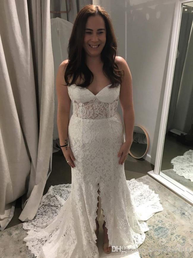 Frente Sexy Rendas Divisão Longa Varredura Sereia Vestidos de Casamento 2018 Querida Zipper Voltar Vestidos de Noiva China