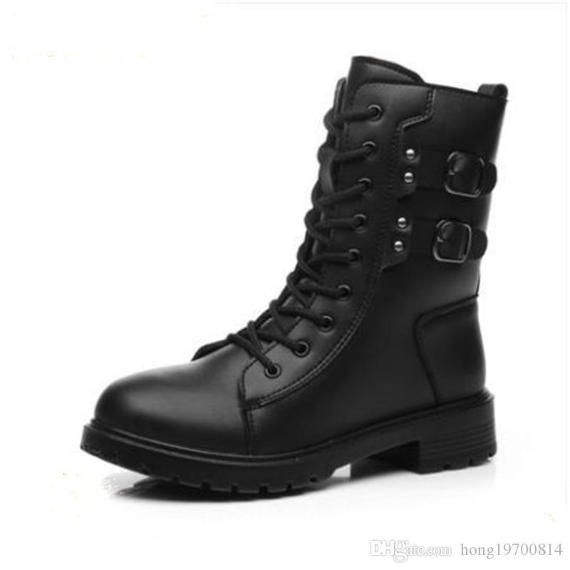Neue Martin-Stiefel für Herbst und Winter Martin-Stiefeletten fallen hochhackige, knöchelartige Plattform-Absatz auf