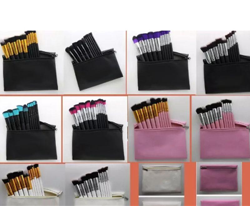 Yeni Sıcak Profesyonel makyaj fırçaları 10 Parça makyaj fırça seti + deri Kılıfı En Iyi Fiyat DHL Ücretsiz