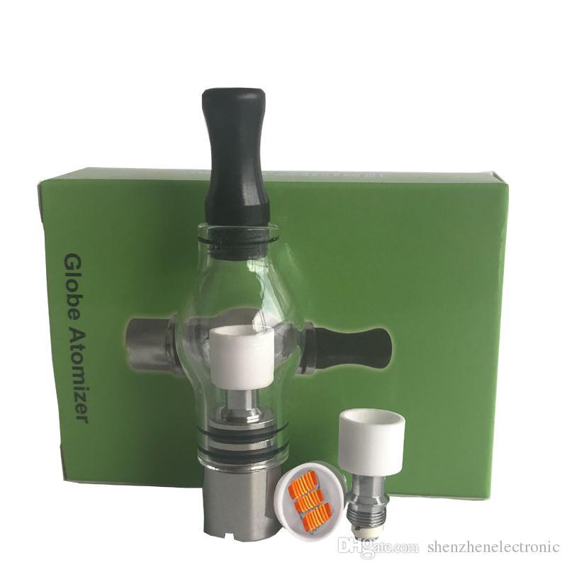 Wax atomizer triple quartz coil Glass Tank Wax Dry Herb Vaporizer Globe Tank Atomizer Clearomizer Cartomizer for E Ciga Electronic Cigarette