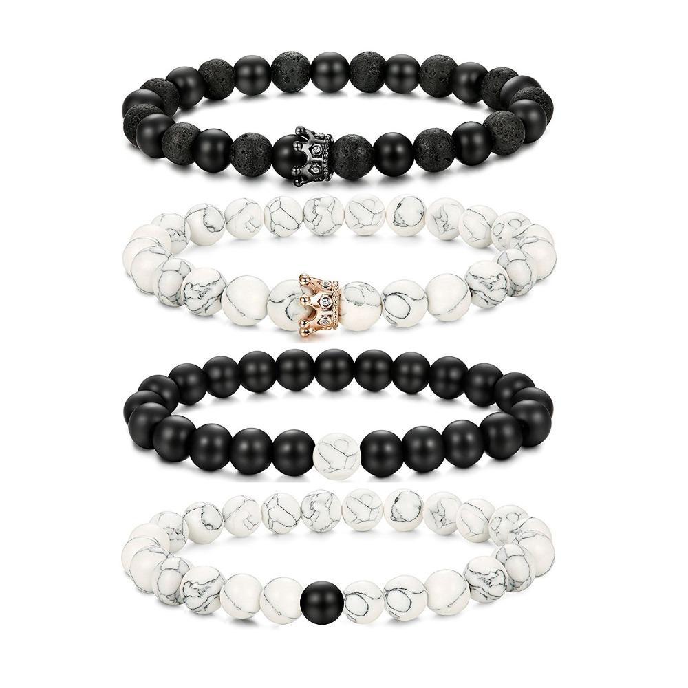 Его Королева ее король браслеты набор натуральный камень бисером пары браслет для мужчин женщин расстояние Корона браслеты набор регулируемый 8 мм