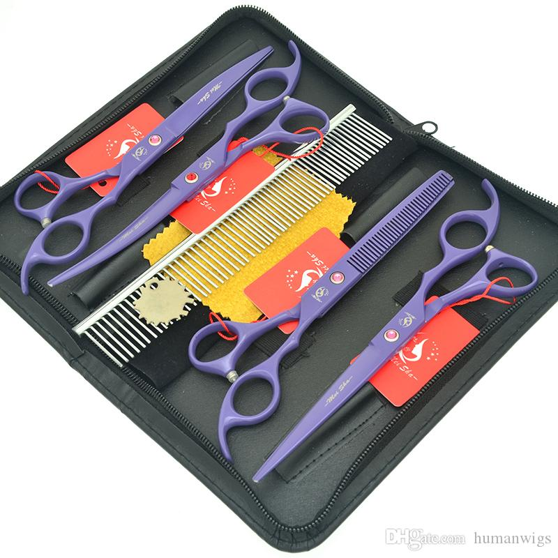 """Meisha 7.0"""" Pet Scissors Set Japan 440c Straight Curved Dogs Cutting Shears Animals 6.5"""" Hair Thinning Clipper Pet Grooming Suppliers HB0179"""