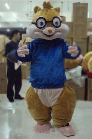 2019 venda Quente Adorável Marrom Alvin e os Esquilos Ratos Mouse Rat Chipmuck Traje Da Mascote Mascotte