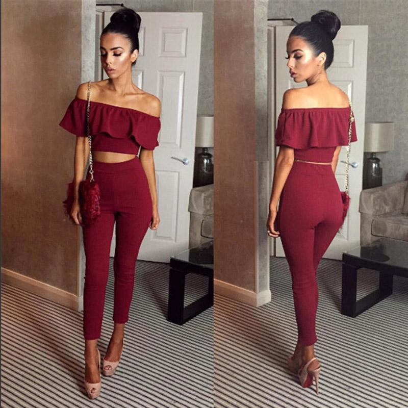 Casual Kadın Sexy İki Adet Kıyafetler Kız Mahsul Üst Ve Uzun Pantolon Suits 2 Adet Kadınlar Seti BODYCON Suit Giyim Ruffles Womens